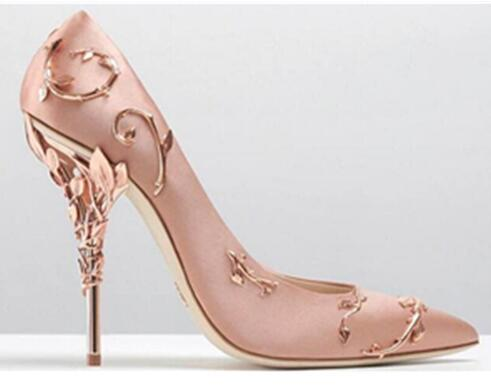 Luxury Filigree Leaf Women Pointed Toe High Heels Haute Couture Shoes Fashion Wedding Pump Super Sexy High Heel Shoes Woman