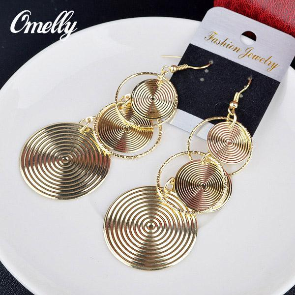 Vintage 3 Circles Big Size Dangle Chandeler Earrings Jewelry 18K Gold Silver Filled Earring for Lay Girl Party Jewelry Wholesale