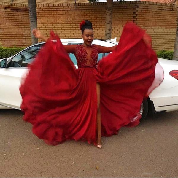 Großhandel Perlen Appliques Sheer Mieder Long Sleeve Prom Dresses ...