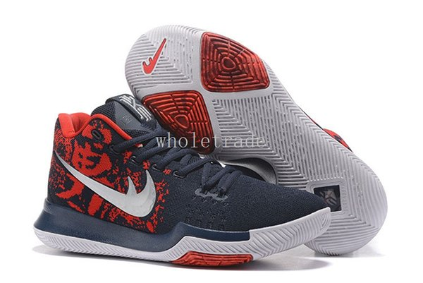 pretty nice c1e98 71a74 Cheap Mens Kyrie 3 Black Ice,Samurai ,Hyper Cobalt Basketball Shoes Kyries  3 Sneakers For Sale Size 7 12 Come With Box Basketball Shoes Shoes Men From  ...