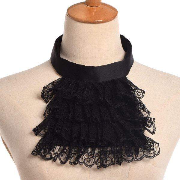 best selling Vintage Jabot Collar Victorian Detachable Lace Ruffle White Black Steampunk Edward Collar Unisex Medieval Cosplay Accessory