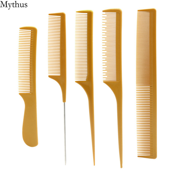 Orange Color Carbon Fibre Hairdressing Comb 5 Pcs/Set Professional Hair Cutting Comb With Tail Handle Hairstyling Tools