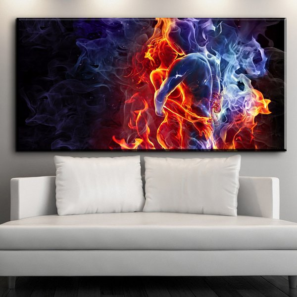 ZZ1594 modern decorative canvas art fire man and woman abstract canvas pictures oil art painting for livingroom bedroom unframed