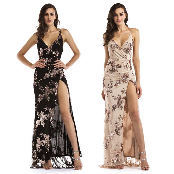 Nuevo vestido largo con lentejuelas de baile negro y negro de las señoras vestidos de fiesta sin espalda de oro Vestidos de fiesta elegante partido dividido Floor_Length LJE1107