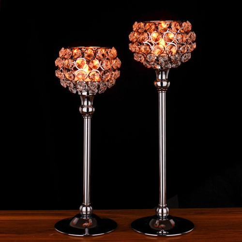 Wedding Decoration Crystal Candle Holder Metal Silver Globe home decor Table centerpieces candelabra