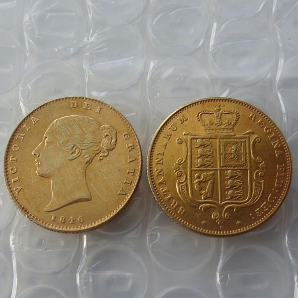 1846s королева Виктория молодая голова золотая монета очень редкий половина Суверен Die Copy Coin продвижение дешевые заводская цена nice home Accessories монеты
