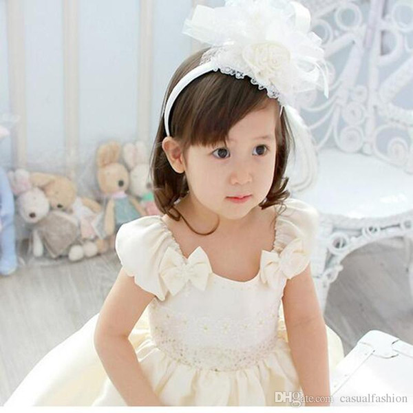 2017 Kids Formal Accessories Pink Flower Ring Girl's Head Pieces Hand-made Lace Decorations Evening Dress Kids