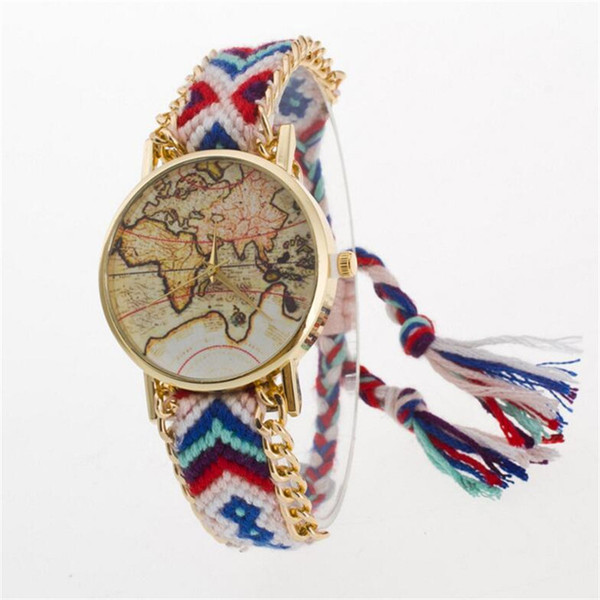 Luxury Women Dress Watch Fashion Handmade Braided Friendship Bracelet World Map Watches Lady Girls Quartz Casual Wristwatches