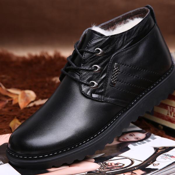 2017 autumn Boots Men Plus Velvet Warm Winter Snow Boots Fashion Popular Lace-up Flat Cotton Shoes Black Brown Male Ankle Boots 2.5A