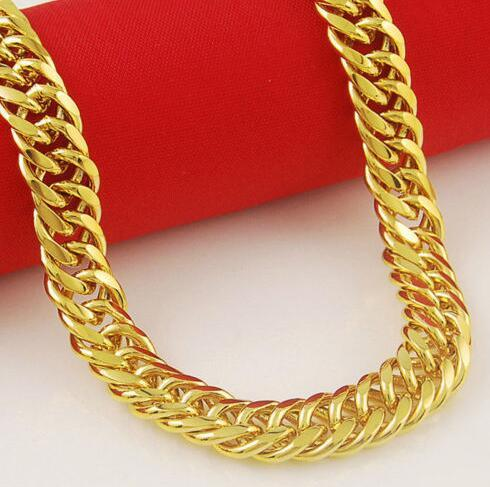 Jewelry 10mm 24K Gold Plated Filled Men's Necklace Solid Cuban Curb Link Chain