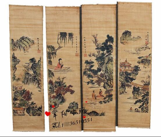 Antique collection, antique calligraphy and painting, Chinese painting, landscape painting, four screens, calligraphy paintings, Zhang Shan,