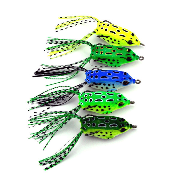 top popular 5pcs Soft Tube Bait Plastic Fishing Lures Frog Lure Treble Hooks Mini Frog Lure Bait 5.5CM 8G Artificial Soft Bait 2508041 2020