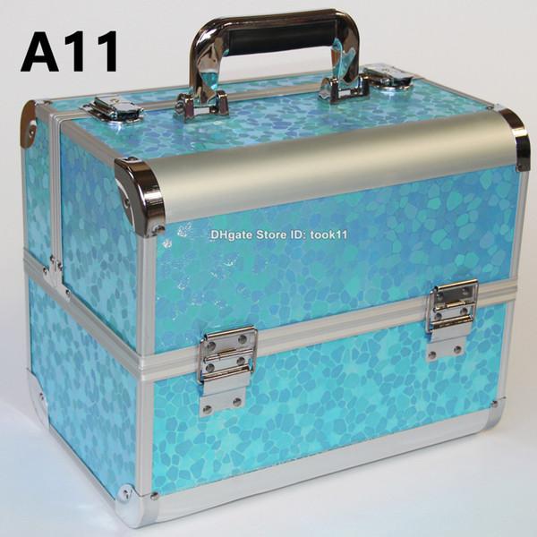 Fashion professional makeup organizer suitcase dressing case make up bag vanity cosmetic bag women makeup bag metal trousse maquillage femme