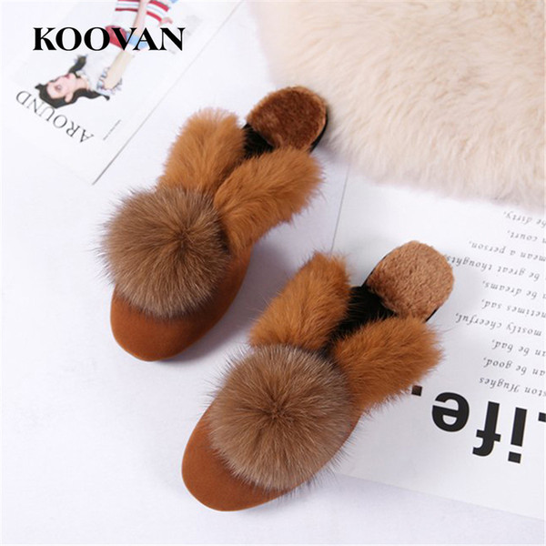 Winter Slipper Fashion Women Slipper Rabbit Hair 2017 Koovan New Autumn Winter Non-Slip Flats Bottom Slippers Ladies High Quality W243