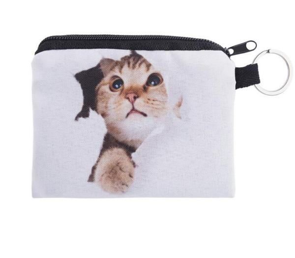 Fashion cute small zipper coin bag Ladies 3D printing Wallets For Women Cat Pattern Female 10pcs/lot free ship