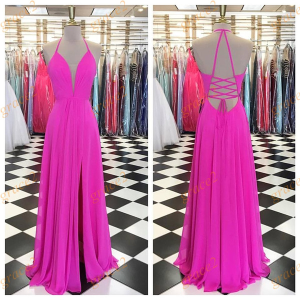 Simple Hot Pink Formal Evening Dresses 2017 with Halter Neck and Lace Up Back Real Photos Deep V Neck A-Line Bridesmaid Dress High-Split