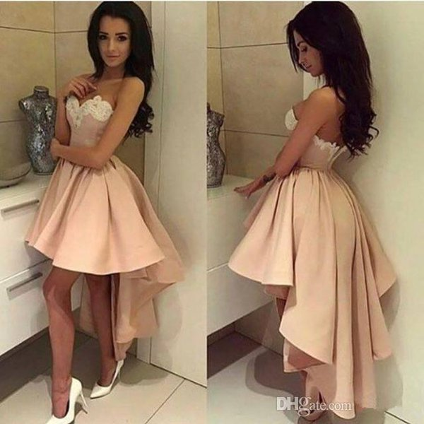 2017 High Low Short Prom Dresses light Pink White Lace Cocktail Dresses Sweetheart Sexy Low Back short front long back Formal Party Gowns
