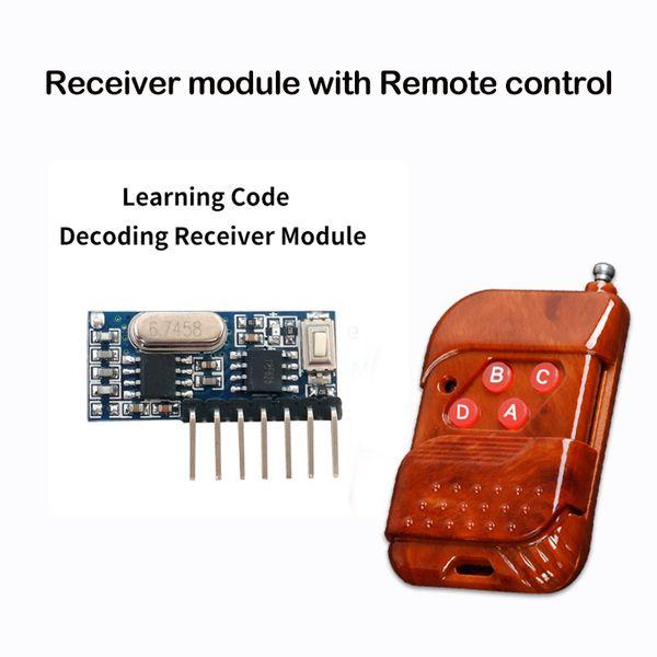 Venta al por mayor: 433 Mhz Control remoto y 433 Mhz Receptor inalámbrico Código de aprendizaje 1527 Decodificación Módulo 4Ch salida con botón de aprendizaje