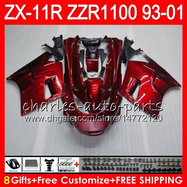 8Gifts For KAWASAKI NINJA ZX11 ZX11R 93 01 94 95 96 97 ZZR 1100 22HM9 red black ZZR1100 ZX-11R ZX-11 1993 1994 1995 1996 1997 Fairing Kit