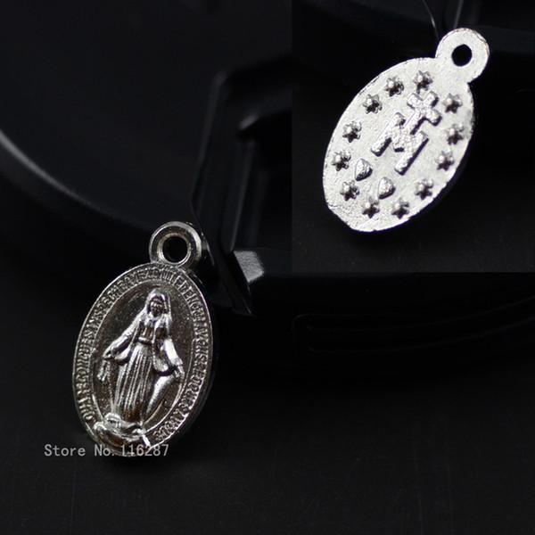 Vente en gros-8 * 14mm Cadeaux religieux catholiques Vierge Marie Sacrés Cœurs La Médaille Saint Médaille amour coeur en alliage de zinc Pendentif Charme