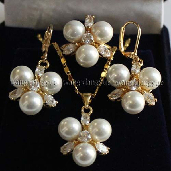 8MM White South sea Shell Pearl Earrings /Ring / Necklace Pendant Set
