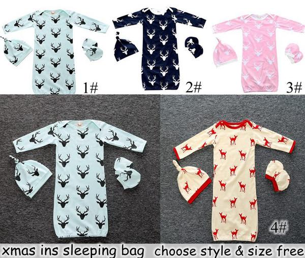 best selling INS Xmas Infant Baby Deer Romper 3PC Set Long Sleeve Deerlet Cotton Boys Girls Infant Pajamas Sleepwear Sleepsuit Jumpsuit Baby Sleeping Bag