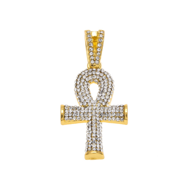Hip Hop Gold Silver Mens Full Iced Out Crystal Egyptian Ankh Key of Life Cross Pendant Necklace With 24inch Cuban Chain
