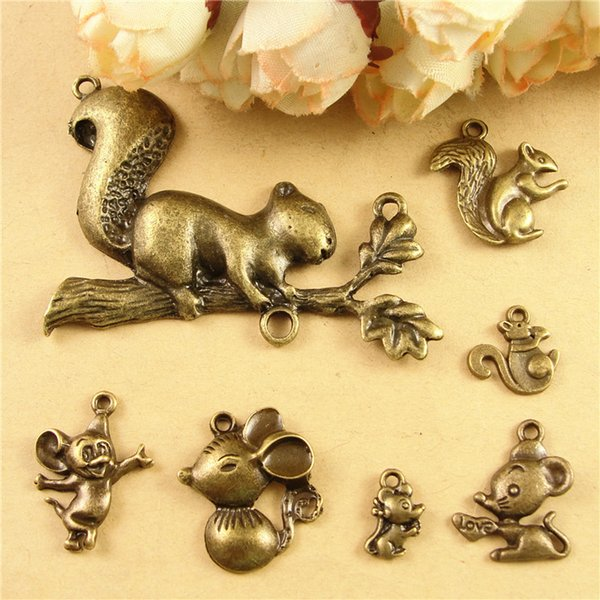 DIY accessories materials bronze retro cute little animal squirrel charms lot, mouse pendant free shipping vintage charm dangle for bracelet