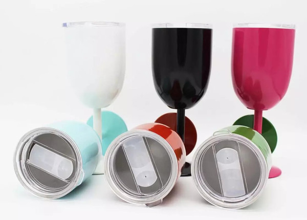 top popular DHL OR FEDEX 10oz goblet Wine Glass Vacuum insulation mug Double Wall Insulated Metal Goblet With Lid Red Wine Glasses 2021