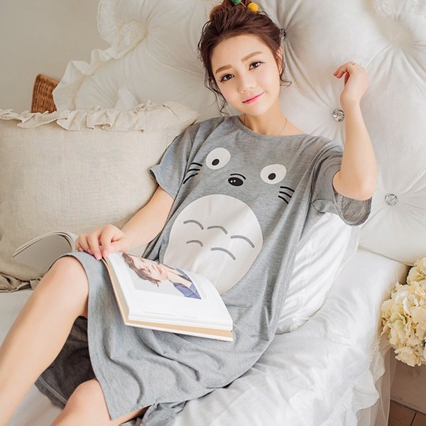 6e2528c357 Wholesale- 2017 New Summer Lady Long Nightgown Sleepshirts Cute Lovely  Cartoon Animal Sleepwear Short Sleeve Cotton Women Nightdress Pijama