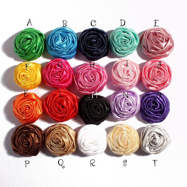5 cm 20 colores hechos a mano cinta de raso suave 3D Rose flores DIY Hair pin diademas para niños vendas de pelo zapatos flores de tela accesorios hallazgos