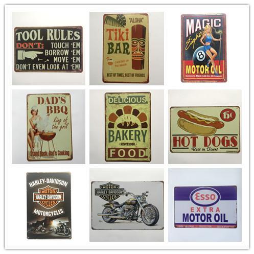 Motor Oil Tool Rules Tiki Bar Dad's BBQ Bakery Harley Retro rustic tin metal sign Wall Decor Vintage Cafe Shop Bar home decor