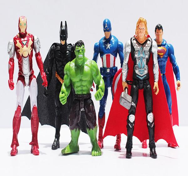 6 adet / takım 9-11 cm Yüksek Kalite Avengers Action Figure PVC Kaptan Amerika Superman Thor Demir adam Aksiyon Figürleri Için bebek