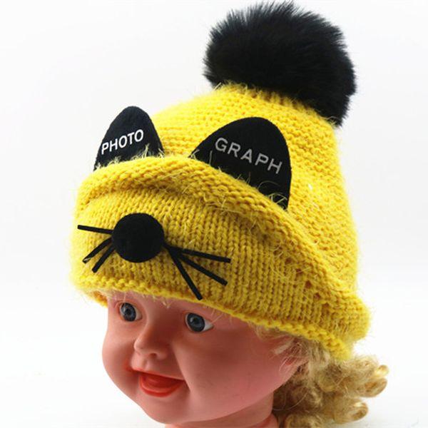 Baby Children Boys Girls Animal Cat Ear Kids Crochet Knitted Hat Winter Patchwork Warm Infant Beanie Cap Cute