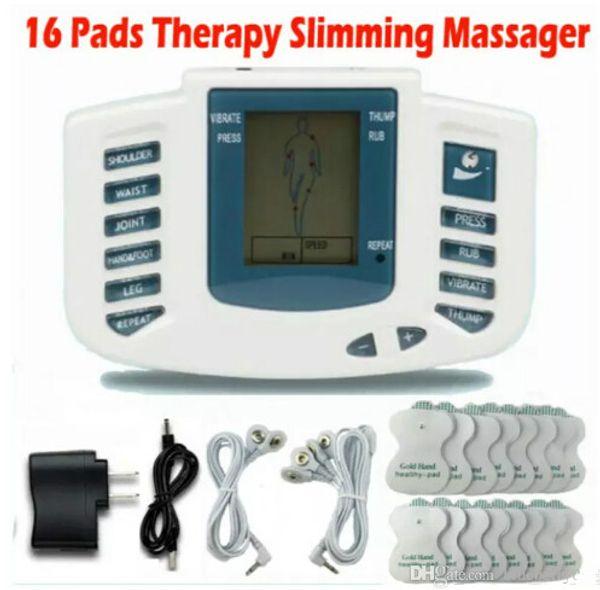 Elektrik Stimülatör Tüm Vücut Kas Terapi Masaj Relax Masaj onlarca Akupunktur Darbe Sağlık Makinesi 16 Pedleri