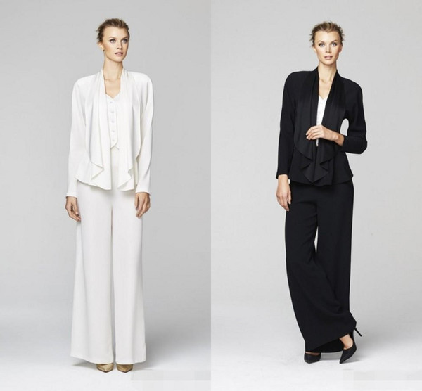 2019 New Style Mother Bride Pant Suits Sexy Long Sleeve Coat White Black Plus Size Evening Mother of the Bride Dress Free Shipping