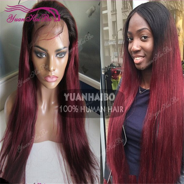 Top selling 1b 99J silky straight brazilian ombre hair two tone human hair burgundy full lace wig free shipping