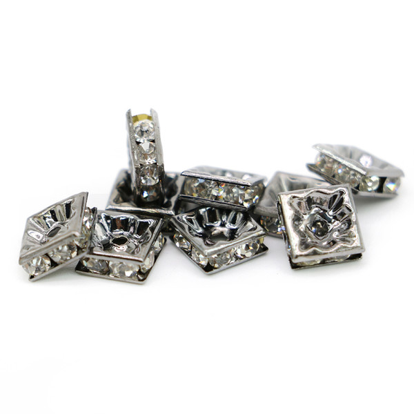 Wholesale Square Spacer Beads 100PCS Crystal Rhinestone Black Lead Plated Metal Beads DIY Jewelry, 6mm 8mm 10mm, IA03-03