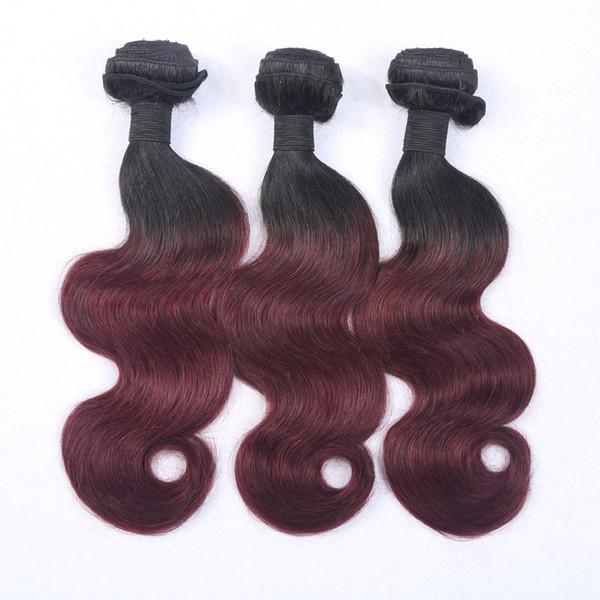 Best Selling Virgin Brazilian Ombre Hair Weave #1B/#99j Two Tone Color Virgin Remy Hair Bundles Body Wavy 3Pcs/Lot Ombre Hair Extension