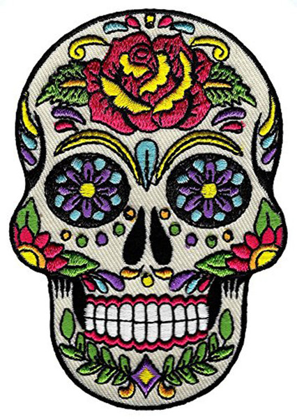 Low Price Custom Sugar Skull Calavera Patch Embroidered Iron-On Skeleton Day of the Dead Emblem Free Shipping