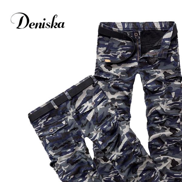 Atacado- Plus tamanho 28-40 dos homens de alta qualidade além de calças de veludo grosso inverno quente camuflagem macacão calças compridas calças de inverno calças