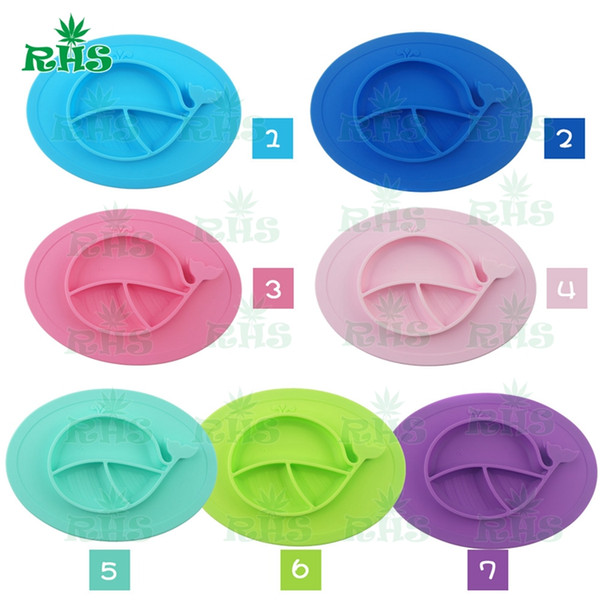 Whale shape mat 100% Food grade silicone baby placemat Cheap silicone placemat and plate baby plate set with 7 colors wholesale S-03