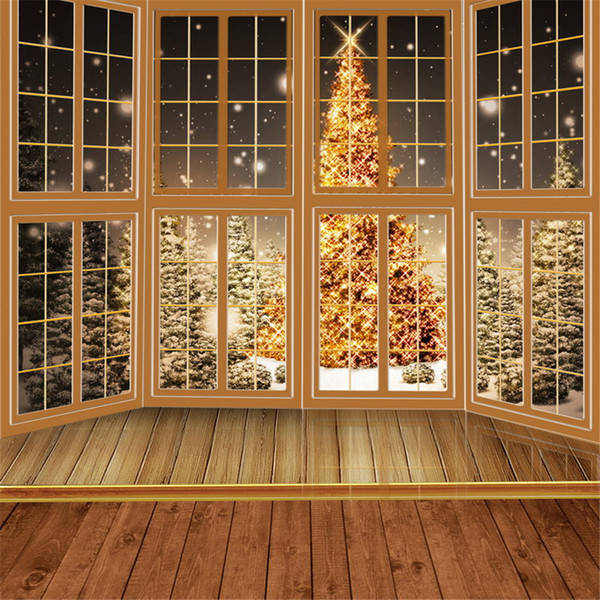 2019 10x10ft Fabric Backdrops For Photography Wood Floor Windows Golden Sparkle Christmas Tree Outdoor Winter Snow Backgrounds For Photo Studio From