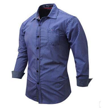 Good Quality Men's Stripe Shirts Gentleman Bussiness Wear Slim Cardigan Shirts Simple Fashion Cotton Blouse Long Sleeve Cotton Casual Shirts