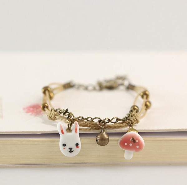 Free shipping Simple cartoon animals small fresh bell bracelet cute lovers jewelry FB520 mix order 20 pieces a lot Slap & Snap Bracelets