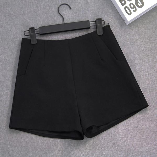 Großverkauf - Chiffon- Weiß-Schwarz-Blau-Chiffon- Kurzschluss-Frauen-Sommer-hohe taillierte kurze Hosen für Frauen-Taschen-breites Bein-heiße kurze Hosen-Kurzschluss Femme