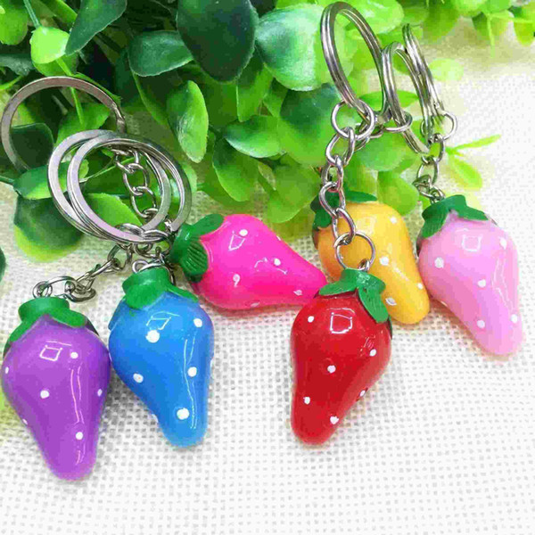Korea personality cute creative simulation of food and fruit color strawberry key ring mobile phone chain pendant wholesale