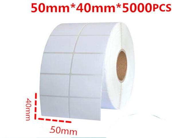 50*40mm 5000pcs/roll blank white free shipping office paper barcode self adhesive sticker label for printer logistic classify paper sticker