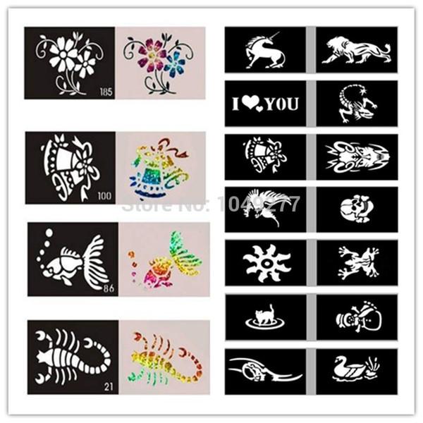 Venda quente-Atacado 2014 mais recente modelos 50 Mixed Design folhas Stencils para corpo pintura Glitter tatuagem temporária frete grátis