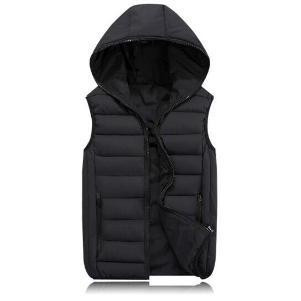 Fashion Men's Vest Winter Men Hooded Vest Male Fashion Cotton-Padded Waistcoat Jacket and Coat Warm Vest 3XL 2XL